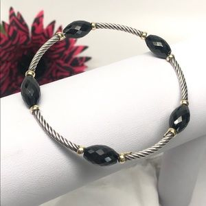 Black Onyx Beaded Bijoux Bangle Bracelet 925/18K